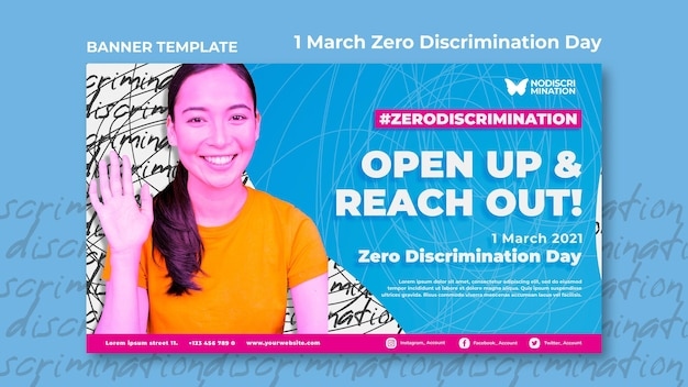 Modelo de banner horizontal de dia de discriminação zero