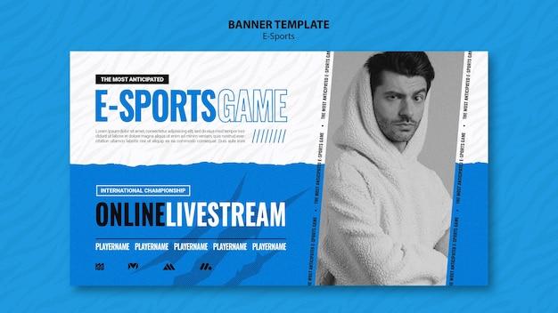 Modelo de banner horizontal de e-sports
