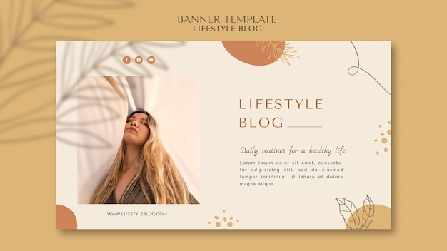 Modelo de banner horizontal de estilo de vida do blogger