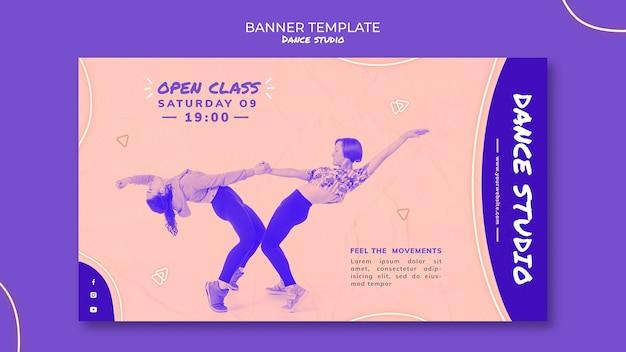 Modelo de banner horizontal de estúdio de dança