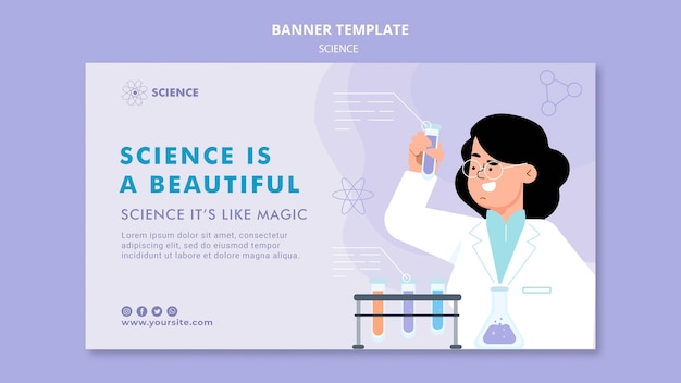 Modelo de banner horizontal de estudos científicos