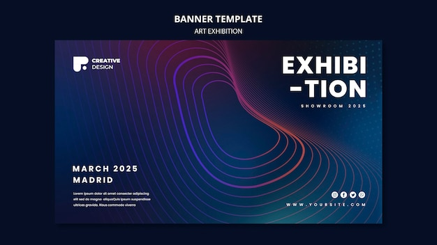 Modelo de banner horizontal de exposição de arte