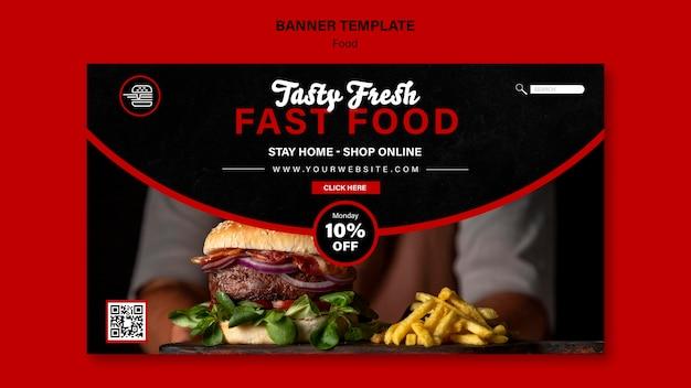 Modelo de banner horizontal de fast food