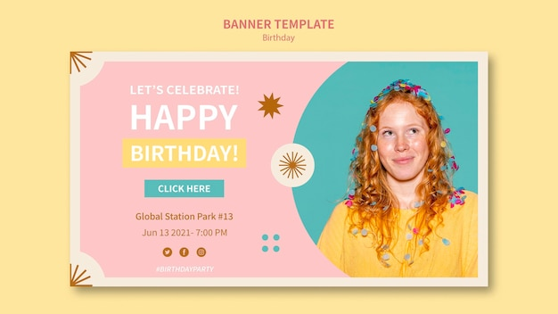 Modelo de banner horizontal de feliz aniversário