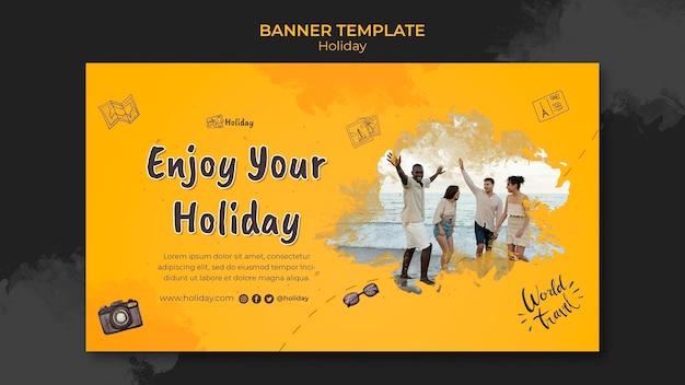 Modelo de banner horizontal de férias