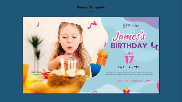 Modelo de banner horizontal de festa de aniversário