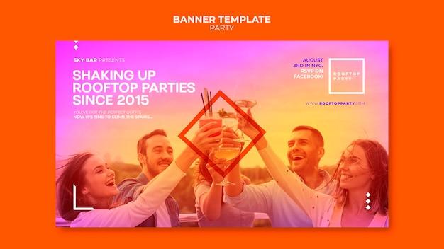 Modelo de banner horizontal de festa