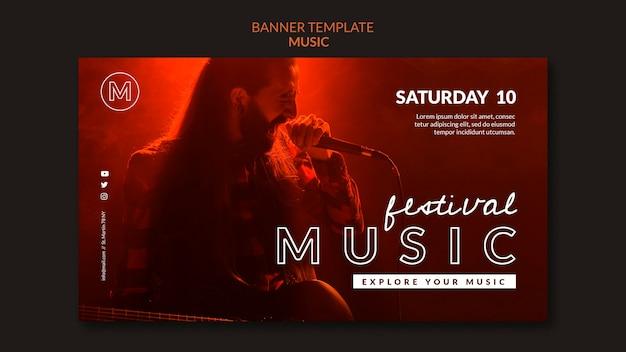 Modelo de banner horizontal de festival de música