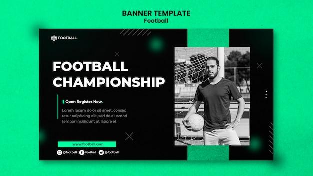 Modelo de banner horizontal de futebol