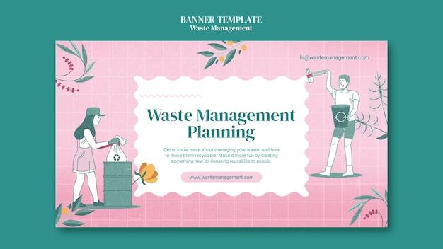 Modelo de banner horizontal de gerenciamento de resíduos