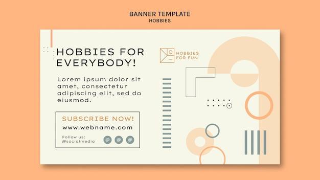 Modelo de banner horizontal de hobbies minimalistas