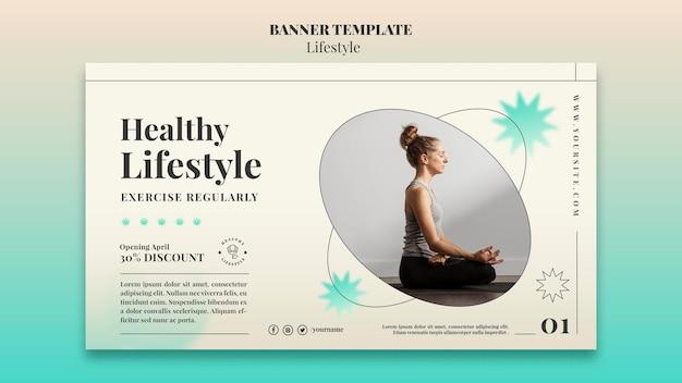 Modelo de banner horizontal de ioga Psd grátis