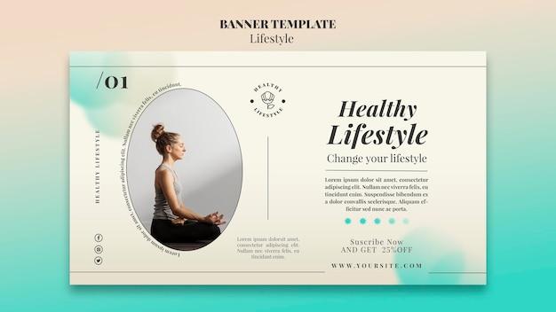 Modelo de banner horizontal de ioga