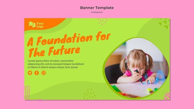Modelo de banner horizontal de jardim de infância