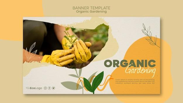 Modelo de banner horizontal de jardinagem orgânica