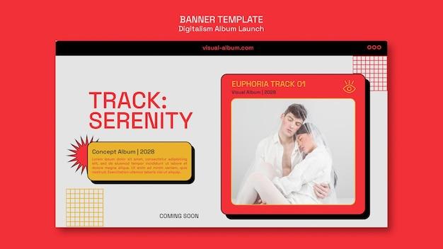 Modelo de banner horizontal de lançamento de álbum com foto
