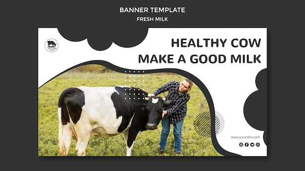 Modelo de banner horizontal de leite fresco