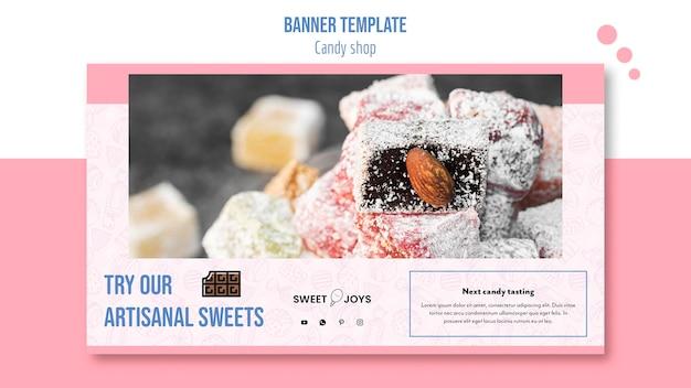 Modelo de banner horizontal de loja de doces