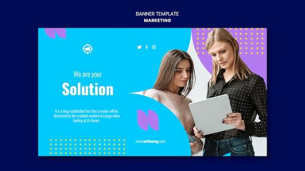 Modelo de banner horizontal de marketing