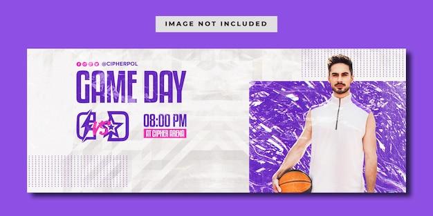 Modelo de banner horizontal de mídia social para eventos de basquete