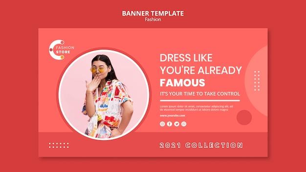 Modelo de banner horizontal de moda