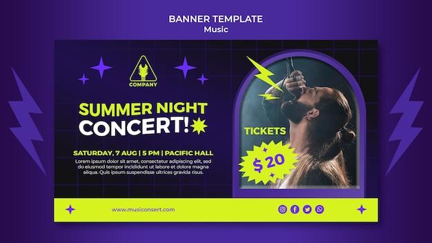 Modelo de banner horizontal de néon para concerto de noite de verão