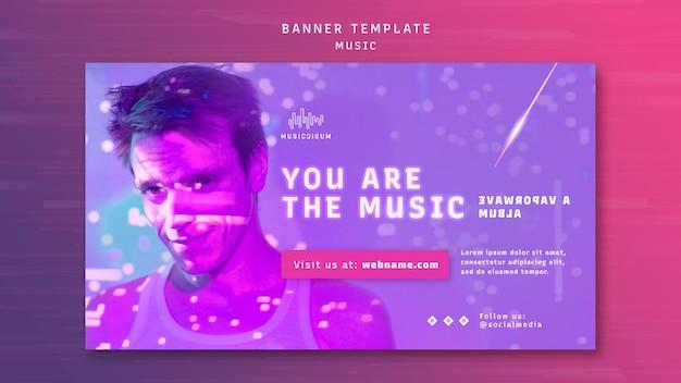 Modelo de banner horizontal de néon para música com artista