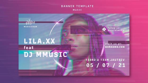 Modelo de banner horizontal de néon para música com artista Psd grátis