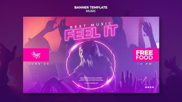 Modelo de banner horizontal de néon para música eletrônica com dj feminina