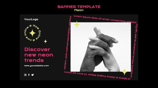 Modelo de banner horizontal de néon para novas tendências online