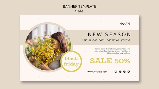 Modelo de banner horizontal de oferta de venda