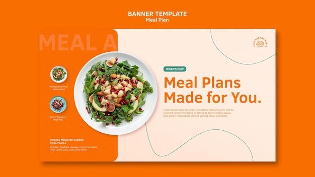 Modelo de banner horizontal de planos de refeições