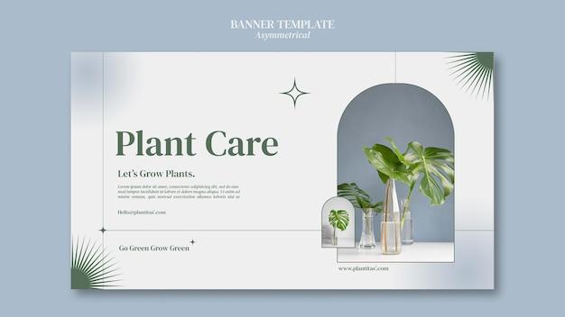 Modelo de banner horizontal de plantas em crescimento