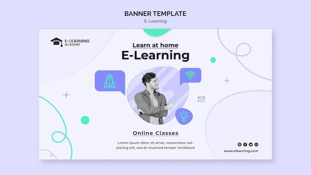 Modelo de banner horizontal de plataforma de e-learning