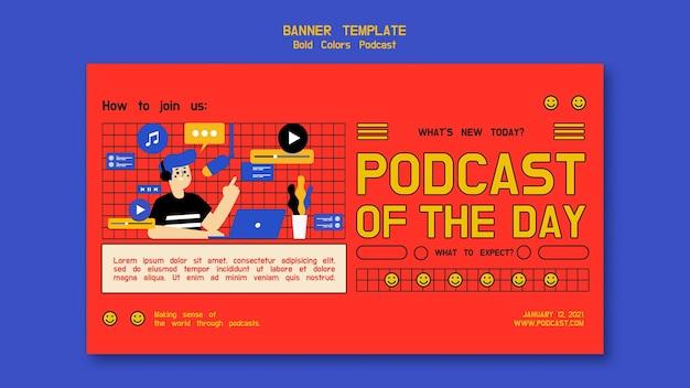 Modelo de banner horizontal de podcast