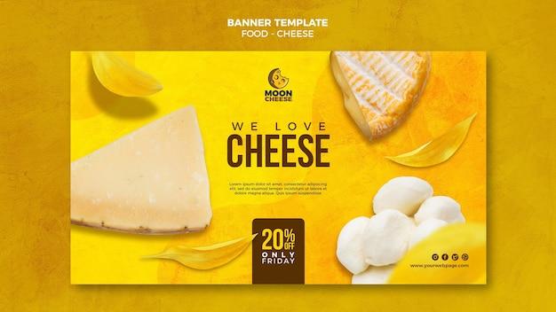 Modelo de banner horizontal de queijo delicioso