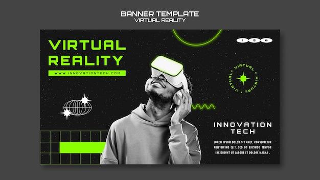Modelo de banner horizontal de realidade virtual