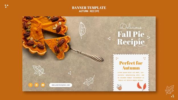Modelo de banner horizontal de receita de outono