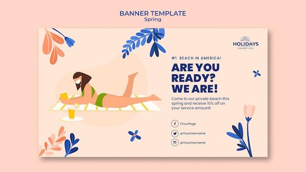 Modelo de banner horizontal de resort de praia de verão