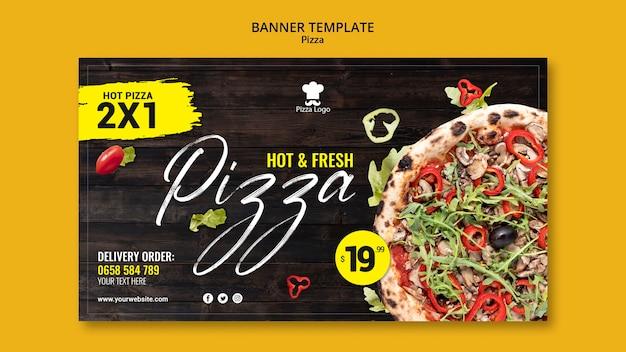 Modelo de banner horizontal de restaurante de pizza
