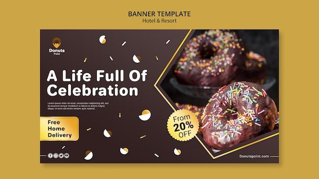Modelo de banner horizontal de rosquinhas saborosas