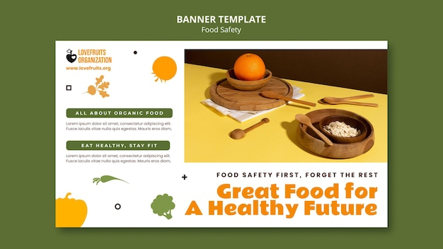 Modelo de banner horizontal de segurança alimentar