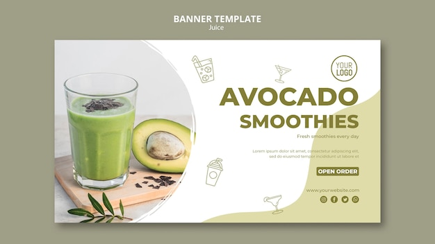 Modelo de banner horizontal de suco de abacate
