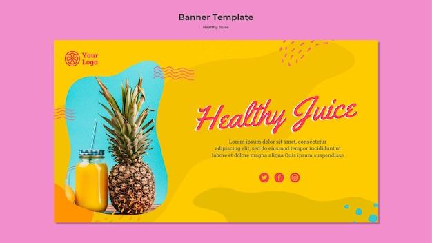 Modelo de banner horizontal de suco saudável