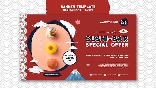Modelo de banner horizontal de sushi