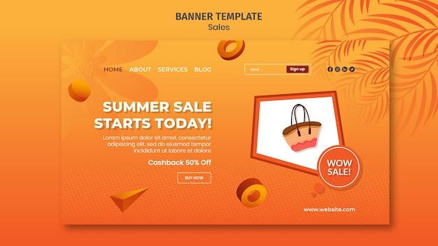 Modelo de banner horizontal de venda de verão
