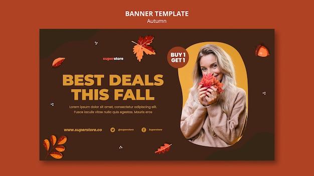 Modelo de banner horizontal de venda outono verão