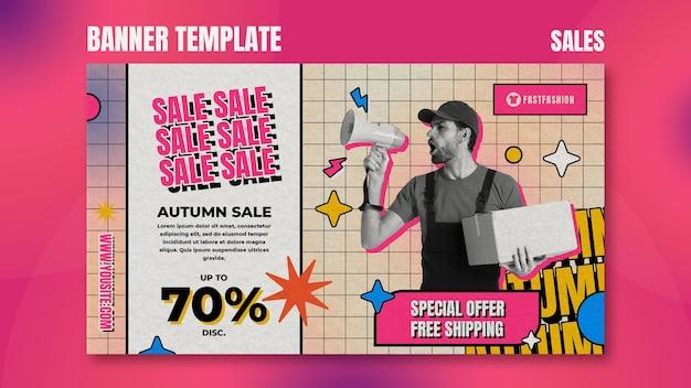Modelo de banner horizontal de vendas retrô