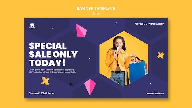Modelo de banner horizontal de vendas