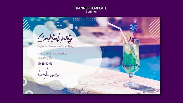 Modelo de banner horizontal de verão cocktail